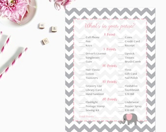 Pink Elephant What's in Your Purse Game, Whats in Your Purse Baby Shower Game, Gray Grey Chevron Instant Download  227 Printable