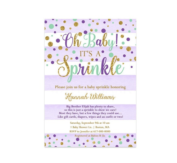 purple and mint baby sprinkle invitation girl purple mint and gold