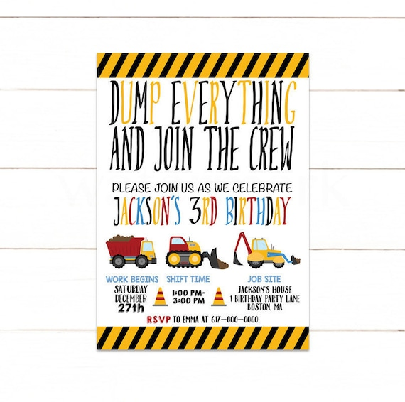 Construction Invitation Birthday Boy Invitations 1st 2nd 3rd 155