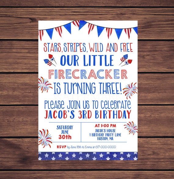 4th Of July Birthday Invitations Red White And Blue 3rd Wild Free Any Age 343 Printable Invitation