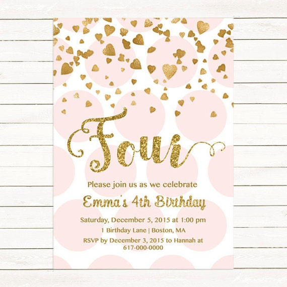 pink and gold 4th birthday invitation girl any age pink gold etsy