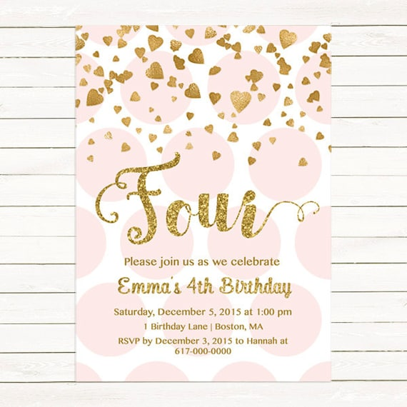 Pink And Gold 4th Birthday Invitation Girl Any Age Heart Confetti Fourth Four Polka Printable