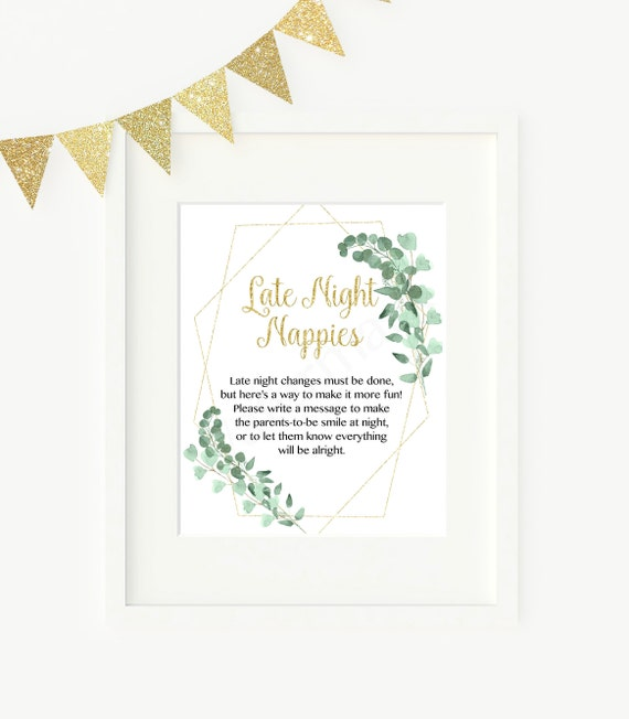 Late Night Nappies Baby Shower Game Greenery And Gold Late Night Nappies Instant Download Pdf Printable 292 By Designed By Georgette Catch My Party
