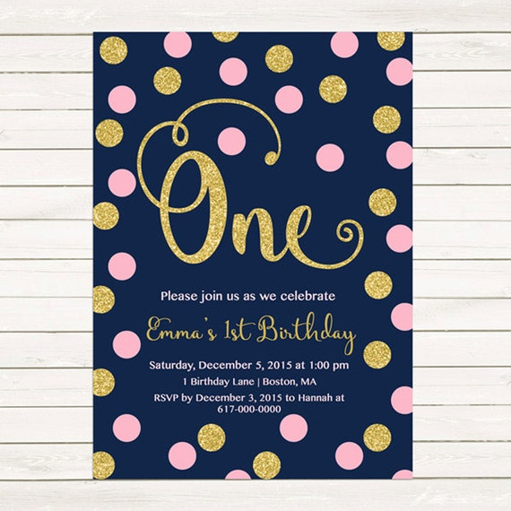 pink and gold 1st birthday invitation girl any age pink gold dots