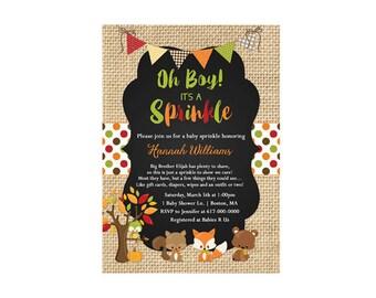 Fall Woodland Baby Sprinkle Invitation Boy, Forest Friends Baby Sprinkle Invitation, Autumn Baby Boy Sprinkle  223 Printable