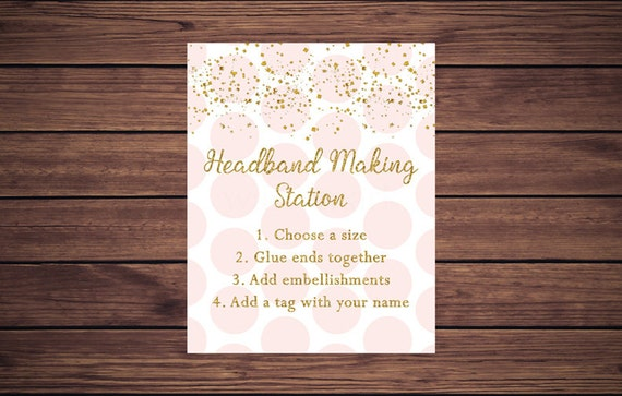 Pink And Gold Headband Making Sign Headband Sign Headband Making