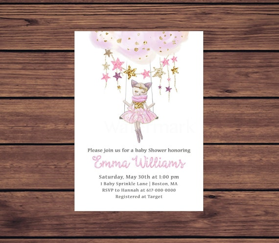 Kitten Baby Shower Invitation Girl Pink And Gold Stars Baby Shower