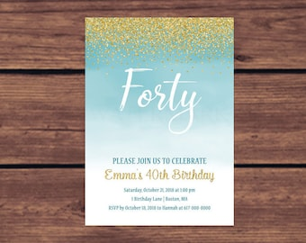 40th Birthday Invitation, Blue 40th Birthday Invitation, Blue and Gold Fifty, Forty, Thirty, 30th, 50th, 40th, 60th   287 Printable