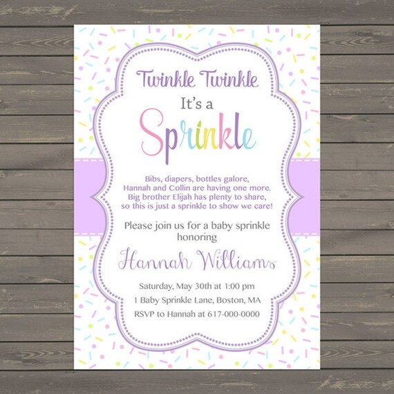 purple baby girl sprinkle invitation sprinkles lavender baby etsy