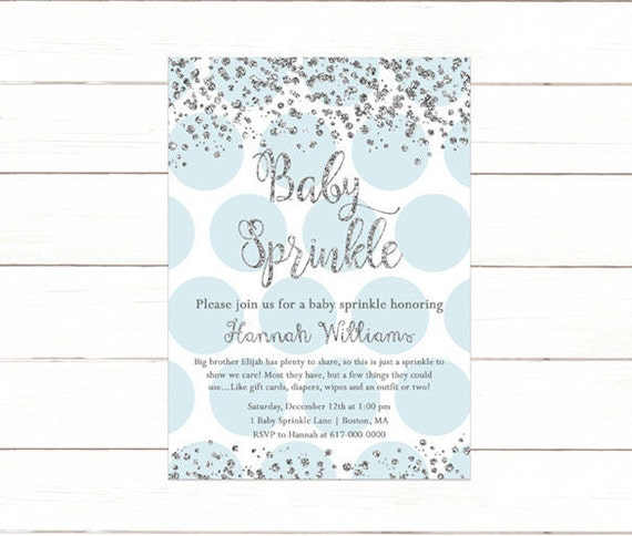 blue and silver baby sprinkle invitation baby boy sprinkle baby