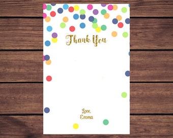 Rainbow Confetti Thank You Card, Rainbow and Gold Thank you Card ,  Thank You Card, Thank You Note, Note Card, PDF Printable Printable