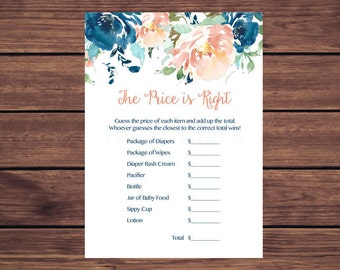 Price is Right Baby Shower Game, The Price is Right Baby Shower Game Blue and Coral Floral Instant Download  263 Printable