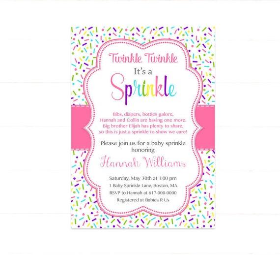 pink baby girl sprinkle invitation sprinkles pink baby etsy