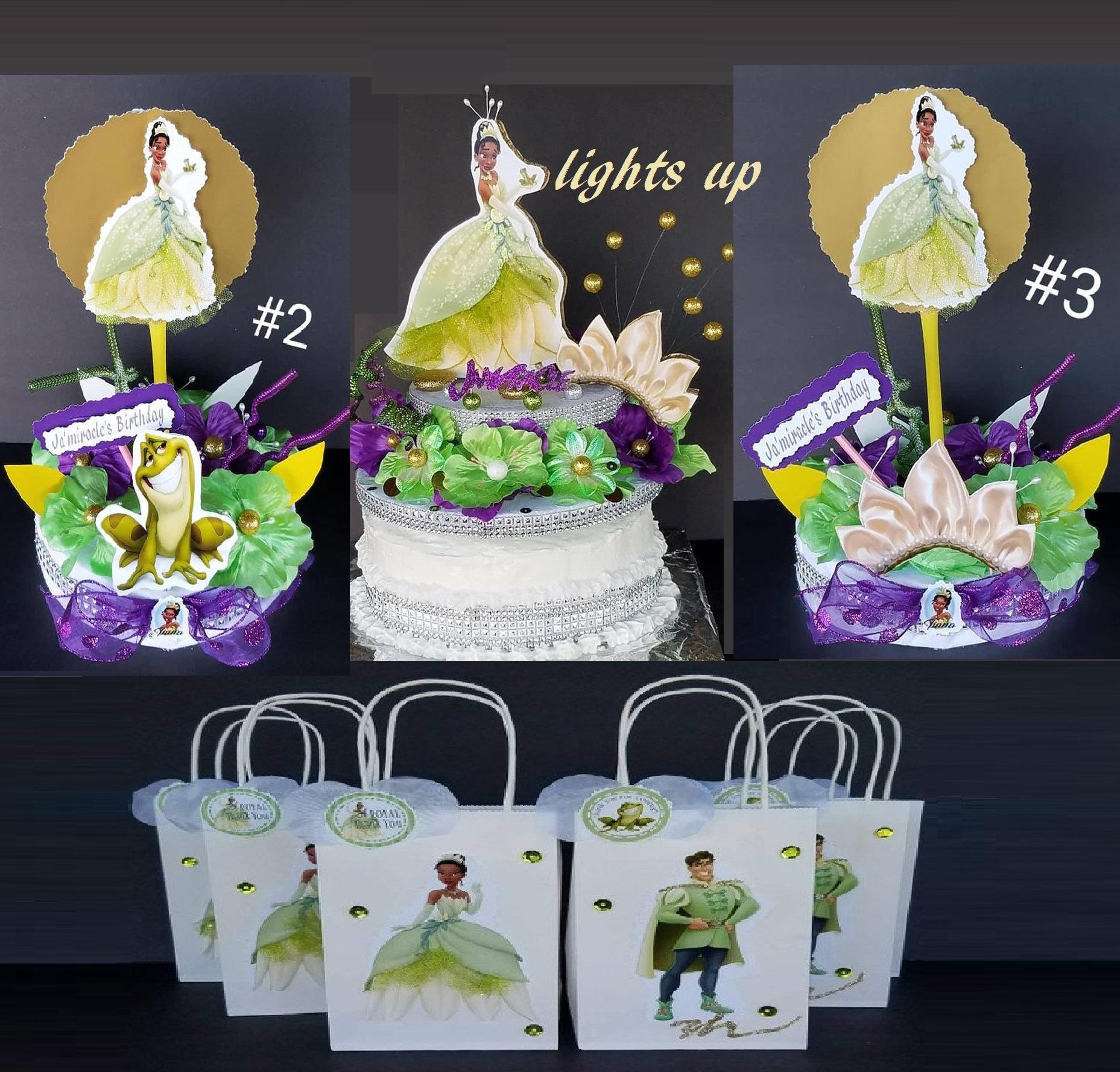 Marvelous Inspired Lights Up Disney Princess Tiana Cake Topper Center Etsy Funny Birthday Cards Online Elaedamsfinfo