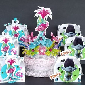 8pc 3D TROLLS FAVOR BOXES is 3D EACH BOX BIRTHDAY PARTY HAND MADE
