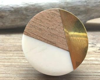 Tricolor Ivory, Distressed Brass, And Natural Wood Knob   Round Wood And  Cream Resin Wooden Knob   Modern Abstract Drawer Pull