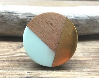 Clearance - Imperfect Tricolor Mint Distressed Brass and Natural Wood Knob - Round Wood and Mint Resin Wooden Knob - Modern Abstract