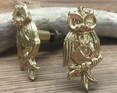 Set of 2 - Owl Drawer Pull - Cabinet Knob - Furniture Hardware Drawer Pull - Decorative Knob - Bird Owl Nursery Decor