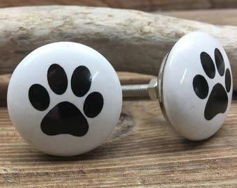 SET OF 2 - White and Black Ceramic Paw Print Knobs - Dog Paw Drawer Pull - Puppy Nursery Decor - Decorative Pet Cabinet Decor