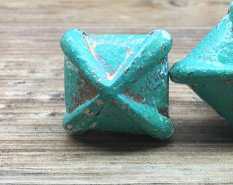 """Small 1 1/8"""" Square or Diamond Hammered Jade and Copper Turquoise Green Cast Iron Knob - Rustic Shabby Chic Drawer Pull"""