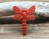 Paprika Burnt Orange Dragonfly Knob - Cabinet Knob Lighting Bug Dragon Fly Drawer Pull - Cast Iron Knob - Nature Nursery Decor