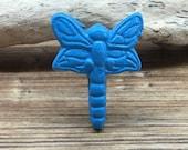 Blue Turquoise Dragonfly Knob - Cabinet Knob Lighting Bug Dragon Fly Drawer Pull - Cast Iron Knob - Nature Nursery Decor
