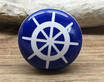 """1.5"""" Blue and White Ship's Wheel Knob - Captains Wheel Nautical Boat Theme Drawer Pull - Primary Colors Nursery - Ceramic Decorative Knobs"""