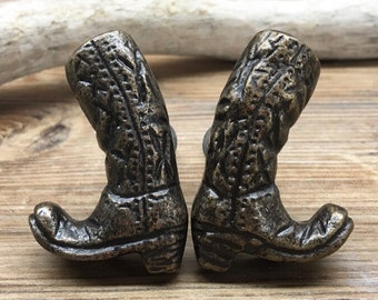 SET OF 2 - Cowboy Boot Cast Iron Knobs - Cowgirl Boots Drawer Pulls - Western Rustic Decor - Cowboy Nursery Theme Decorative Knobs