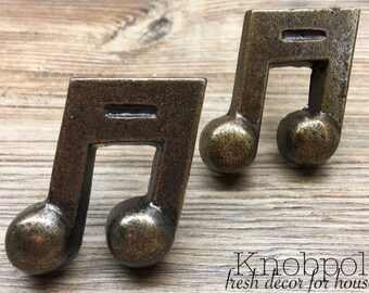 SET OF 2 - Music Note Knobs - Melody Piano Musician's Antique Bronze - Musical Drawer Pulls