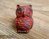Red Pewter Owl - Distressed Red Owl Knob - Furniture Hardware Drawer Pull - Decorative Knob - Bird Owl Nursery Decor