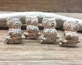 SET OF 4 Peach Owl Knobs - Distressed Owl Drawer Pulls - Cabinet Knob - Furniture Hardware Drawer Pull - Decorative Knob - Bird Owl Decor