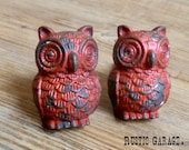 SET OF 2 - Red Pewter Owls - Distressed Red Owl Knob - Furniture Hardware Drawer Pull - Decorative Knob - Bird Owl Nursery Decor
