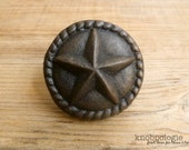 Large 2 quot Cast Iron Star Knob with Rope Border - Texas Star Knob - Western Drawer Pull - Lasso Cowboy Theme - Country Rustic Cabinet Decor