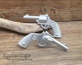 SET OF 2 -Silver Revolver Drawer Knobs Gunmetal Grey Wild West Cowboy Star Gun Knob Western Texas Star - Cowgirl Drawer Pull - Ranch Nursery