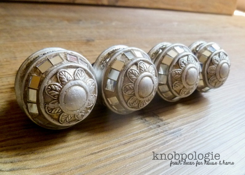 SET OF 4 Shiny Pewter Metal Mosaic Drawer Pull Decorative Knob Cabinet Decor Antiqued Silver Art Deco Style Mirror Knob