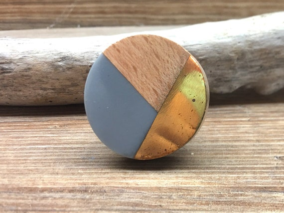 Distressed Brass and Natural Wood Knob SET OF 4 Round Resin and Wooden Knob Tricolor Grey Modern Abstract Drawer Pull