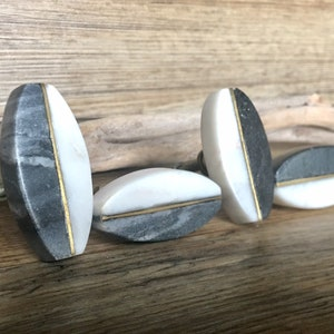 Set of 4 Oval Marble Stone and Granite Grey Knob with Gold Center Bar Mid Century Modern White Grey and Gold Oval Stone Cabinet Knob