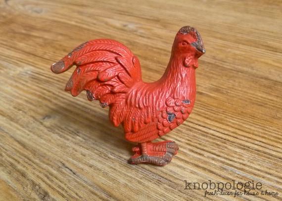 barn red rooster metal knob farm animal drawer pull etsy rh etsy com