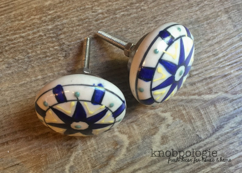 Flat Face Mediterranean Cerulean Blue Drawer Pull Large White Blue Yellow and Green Painted Ceramic Knob Cabinet Hardware SET OF 4
