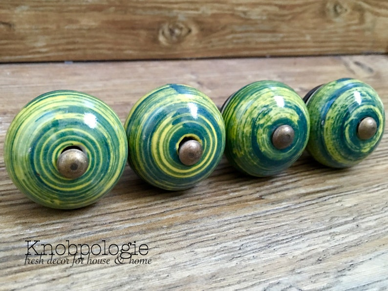 Decorative Knob Drawer Pull Cabinet Kitchen Decor 1.5 Green and Yellow Swirl Ceramic Knob Forest Teal Hunter Green
