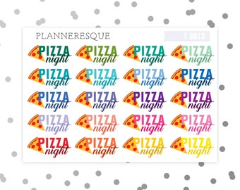 20 Pizza Night Stickers - Erin Condren Planner Stickers - T 0013