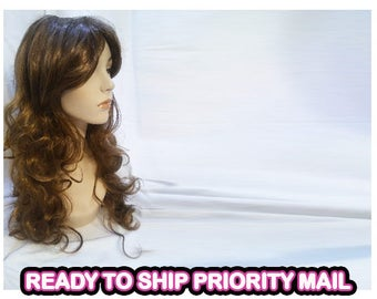 Long curly wavy Brown synthetic wig hair holloween cosplay