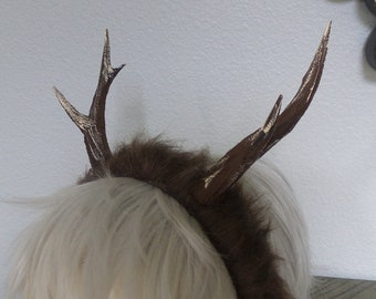 NEW ARRIVAL Antlers on faux fur headband!  Doe / Deer Antlers  3D Printed (Ultra Light Weight Plastic)  Antlers comic-con fantasy fawn