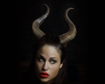 """NEW PREMIUM! 13"""" curve Maleficent Inspired Horns  3D Printed (Ultra Light Weight Plastic) Suitable for adults comic-con"""