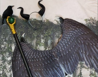 Child Maleficent accessories with options to choose Horns  Black Wings black crow staff scepter  child's costume girls size 3t-12yo