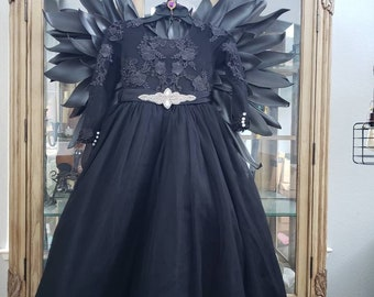 Posh Child Maleficent Full costume includes Gown Horns  Black Wings black crow staff scepter choker  child's costume girls size 8/9