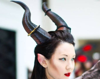 """Large Horns 12.5"""" Maleficent Inspired Horns  3D Printed (Ultra Light Weight Plastic) Suitable for adults comic-con"""