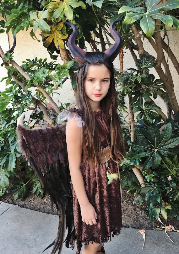 Choose Your Options Young Maleficent Inspired Costume Wings Horns 3d Printed Dress And Accessories Girls Size 2t 14