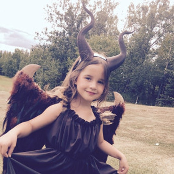 Young Maleficent Inspired Costume With 3d Ultra Light Weight Plastic Printed Horns Wings Dress And Accessories Girls Size 6 16