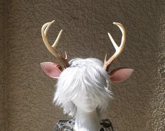 NEW ARRIVAL! Realistic  Doe / Deer Antlers Horns and optional ears  3D Printed (Ultra Light Weight Plastic) Reindeer Antlers comic-con